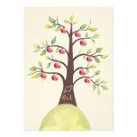 La talla del manzano del monograma del boda invita comunicados personalizados