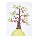La talla del manzano del monograma del boda invita anuncio