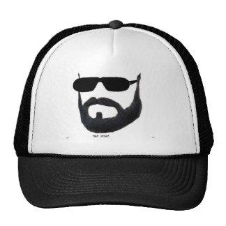 La tapa de la barba del hombre cerca: da'vy gorras de camionero