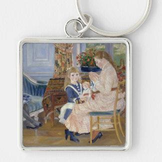 La tarde de los niños en Wargemont, Renoir Llavero Cuadrado Plateado