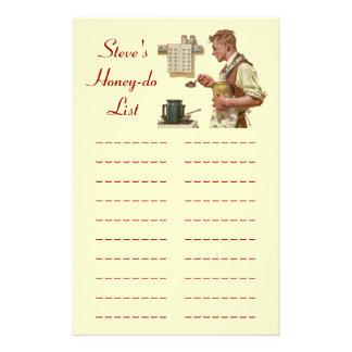 la tarea de la lista Miel-DOS enumera los efectos  Personalized Stationery