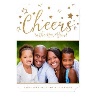 """La tarjeta alegre/el blanco del Año Nuevo de la Invitación 5"""" X 7"""""""