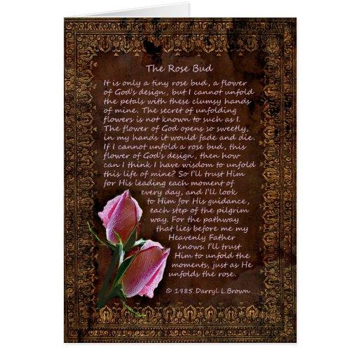 La tarjeta color de rosa del brote