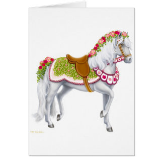 La tarjeta color de rosa del caballo