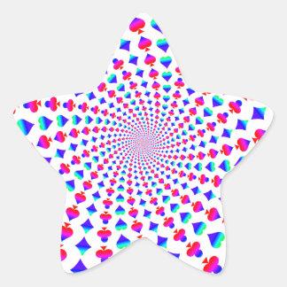 La tarjeta colorida se adapta a vórtice pegatina en forma de estrella