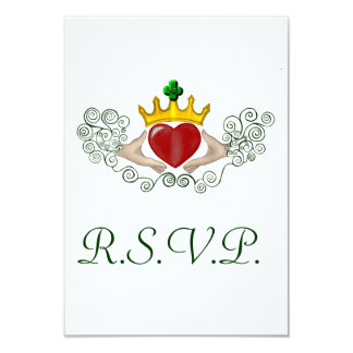 """La tarjeta de Claddagh R.S.V.P (a todo color) Invitación 3.5"""" X 5"""""""