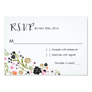 """La tarjeta de contestación floral del ramo bonito invitación 3.5"""" x 5"""""""