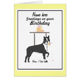 La tarjeta de cumpleaños de Boston Terrier añade n