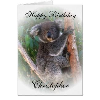 La tarjeta de cumpleaños del oso de koala apenas