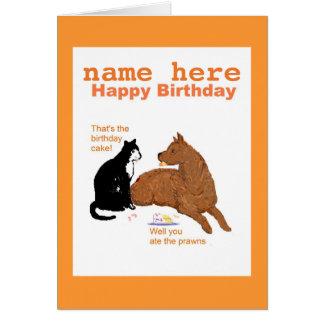 La tarjeta de cumpleaños divertida con el perro,