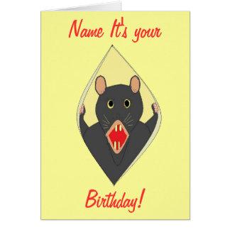 La tarjeta de cumpleaños divertida de la rata