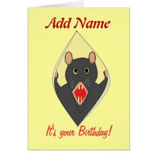 La tarjeta de cumpleaños divertida de la rata añad