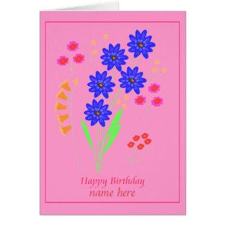 La tarjeta de cumpleaños moderna de las flores