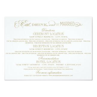"""La tarjeta de detalles del boda el   come la invitación 4.5"""" x 6.25"""""""