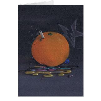 la tarjeta de felicitación anaranjada