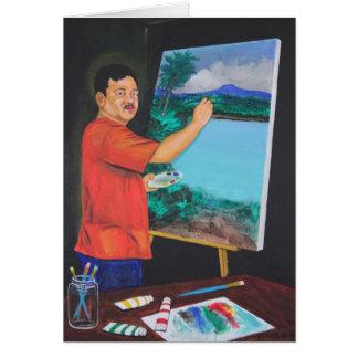 La tarjeta de felicitación del artista