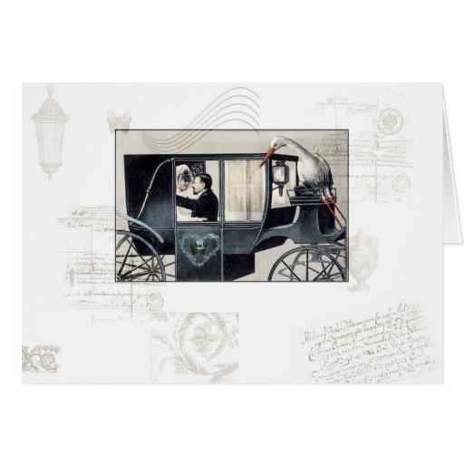 La tarjeta de felicitación del carro del boda