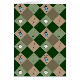 La tarjeta de felicitación del modelo del golfista