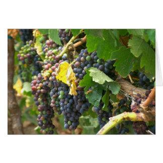 La tarjeta de felicitación esconde con las uvas