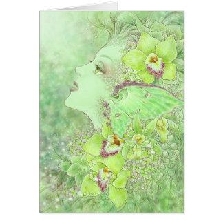 La tarjeta de felicitación verde del Faery