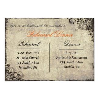 """La tarjeta de la cena del ensayo del vintage de la invitación 3.5"""" x 5"""""""