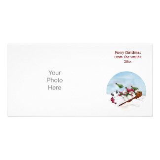 La tarjeta de la foto del paseo del trineo tarjeta fotográfica