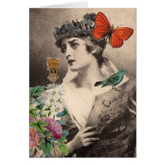 La tarjeta de la señora nota del canto