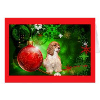 La tarjeta de Navidad de cocker spaniel protagoniz