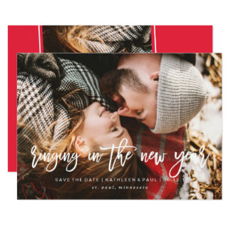"""La tarjeta de Navidad del compromiso, ahorra el Invitación 5"""" X 7"""""""