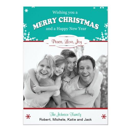 La tarjeta de Navidad roja de los copos de nieve Comunicados Personales