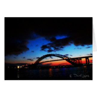 La tarjeta de nota del puente de Bayona