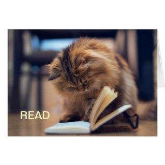 La tarjeta de nota estudiosa del gato