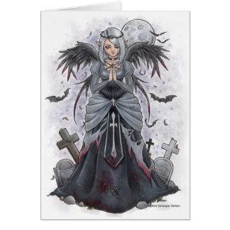 La tarjeta de nota oscura del ángel de la sacerdot