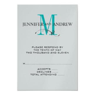 """La tarjeta de RSVP para el boda cuadrado invita al Invitación 3.5"""" X 5"""""""