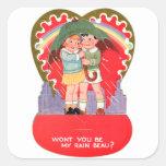 La tarjeta del día de San Valentín retra del vinta Colcomanias Cuadradas Personalizadas