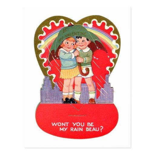 La tarjeta del día de San Valentín retra del vinta Postal