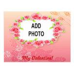 La tarjeta del día de San Valentín rosada de los r Postal