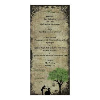 La tarjeta del menú del boda del verde de la ofert anuncios