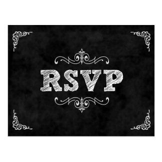 La tarjeta del rsvp del boda de la pizarra/come la tarjetas postales