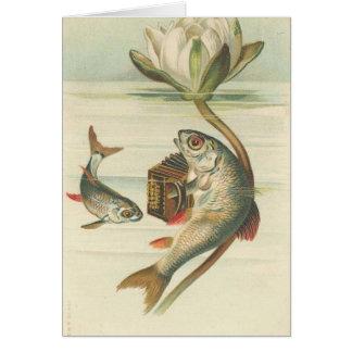 la tarjeta del vintage de los pescados del canto