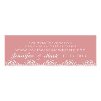 La tarjeta del Web site del boda del tapetito del  Tarjetas De Negocios