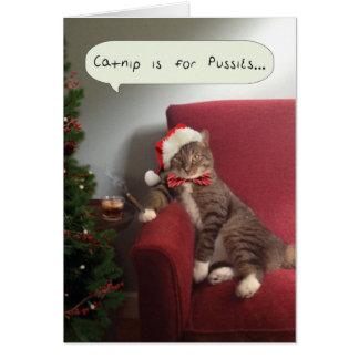 La tarjeta divertida del gato del día de fiesta, C