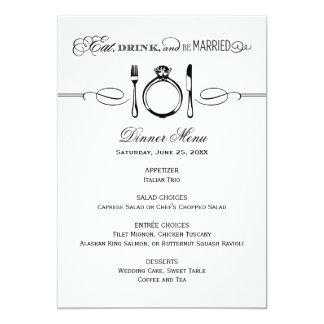 La tarjeta el | del menú de la cena come, bebida y invitación personalizada