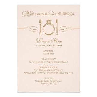 La tarjeta el | del menú de la cena come, bebida y comunicados