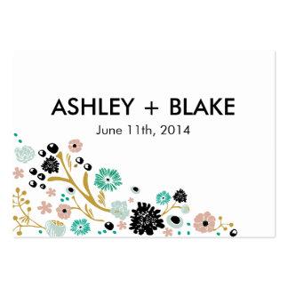 La tarjeta floral del favor del boda del ramo tarjetas de visita grandes