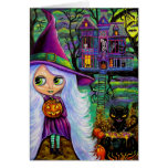 La tarjeta frecuentada de Halloween de la casa del