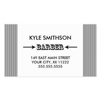 ¡La tarjeta negra/blanca del peluquero con horas Tarjetas De Visita