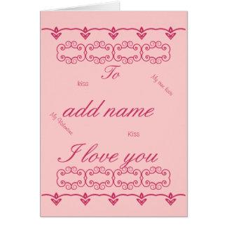 La tarjeta romántica del el día de San Valentín añ