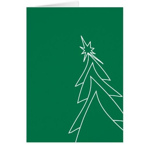 La tarjeta verde del árbol de navidad