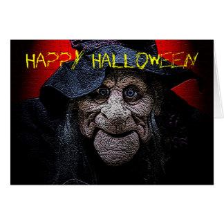La tarjeta vieja de Halloween de la bruja